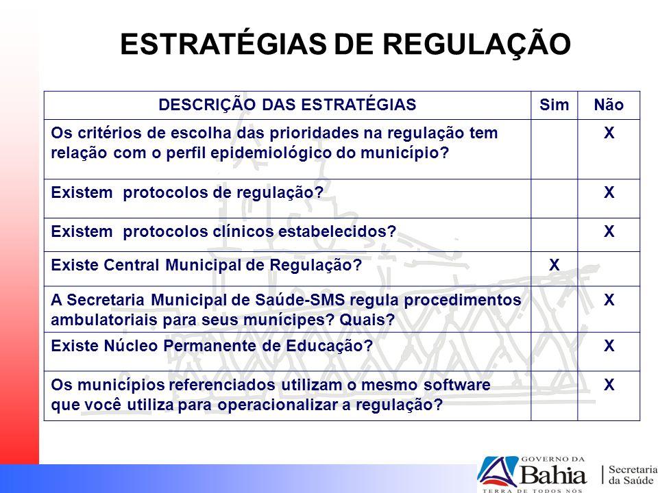 ESTRATÉGIAS DE REGULAÇÃO DESCRIÇÃO DAS ESTRATÉGIAS