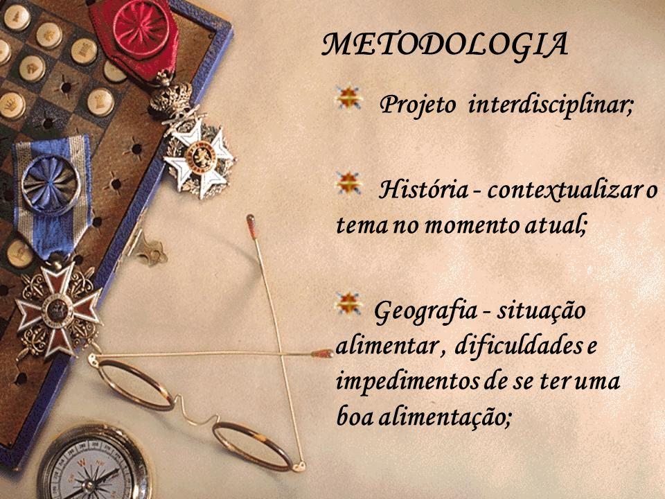 METODOLOGIA Projeto interdisciplinar;