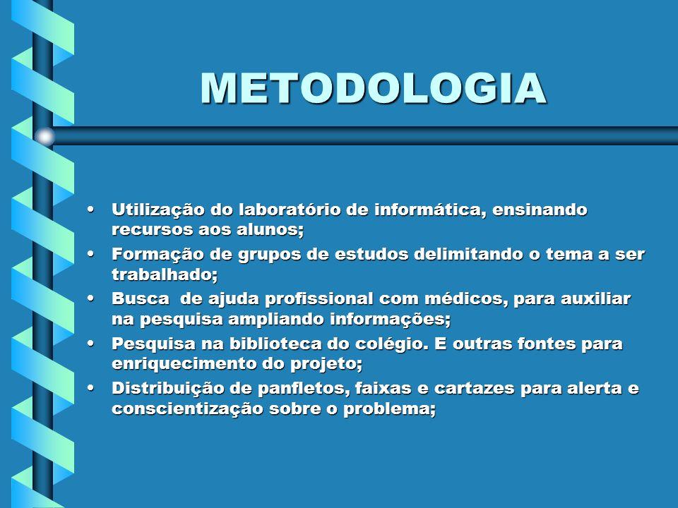METODOLOGIA Utilização do laboratório de informática, ensinando recursos aos alunos;