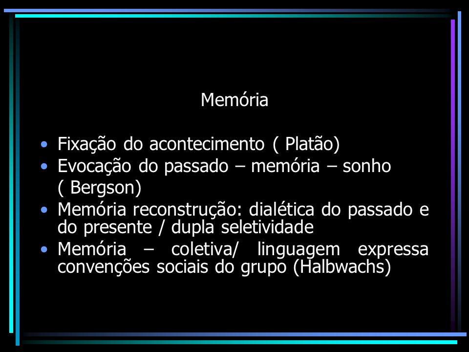Memória Fixação do acontecimento ( Platão) Evocação do passado – memória – sonho. ( Bergson)