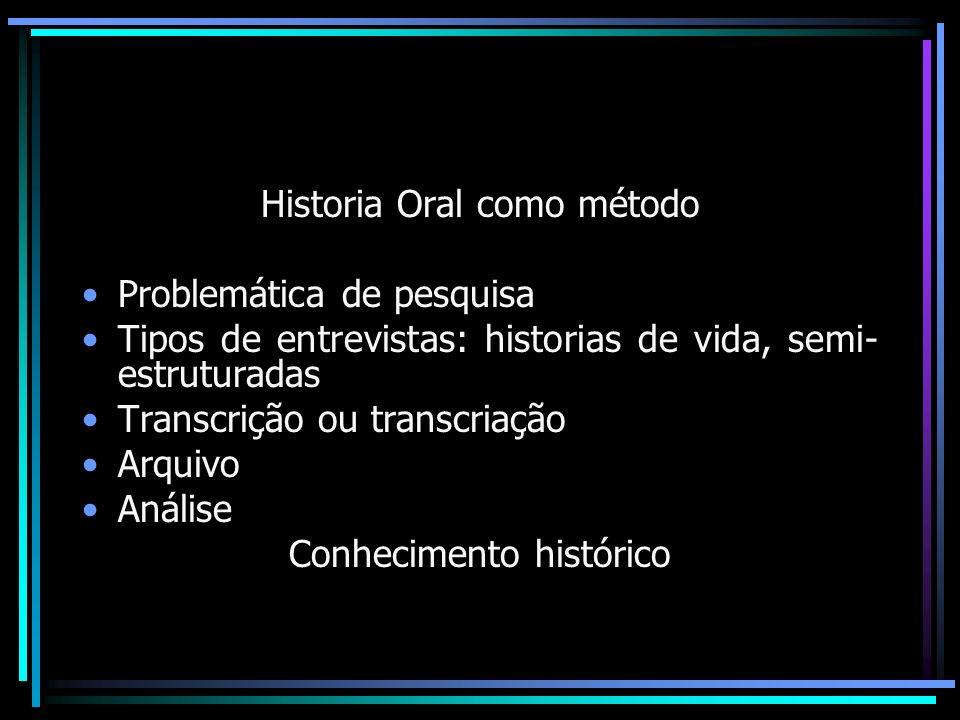 Historia Oral como método Problemática de pesquisa