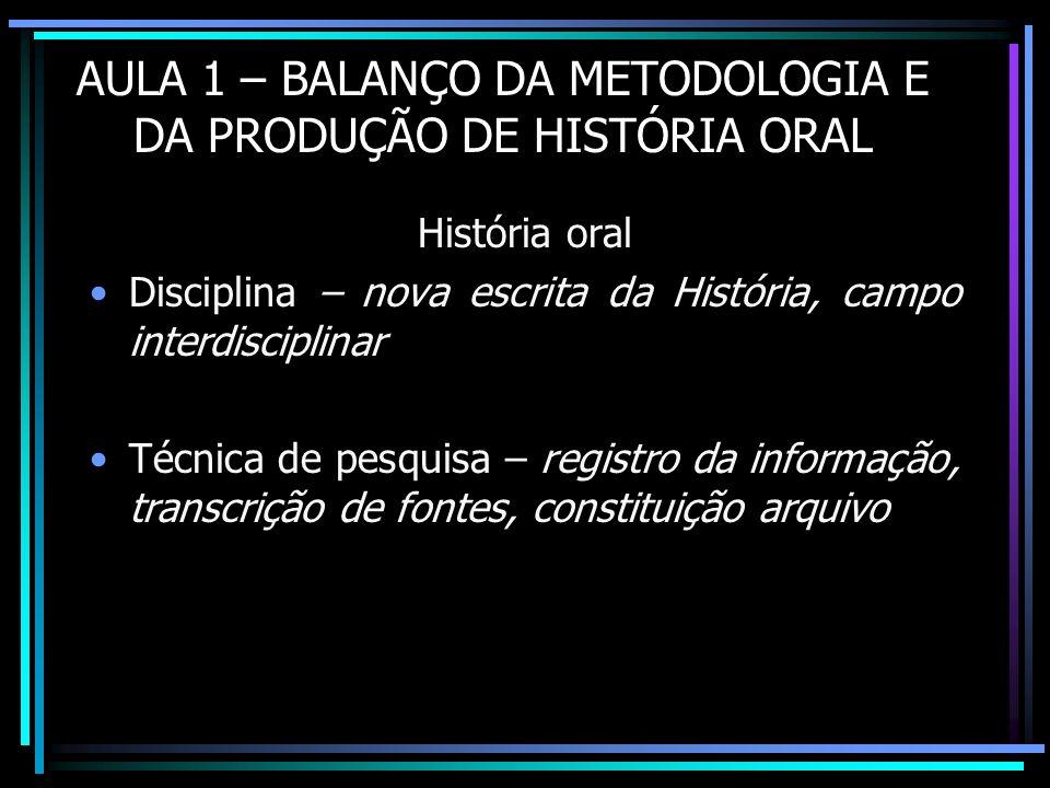 AULA 1 – BALANÇO DA METODOLOGIA E DA PRODUÇÃO DE HISTÓRIA ORAL