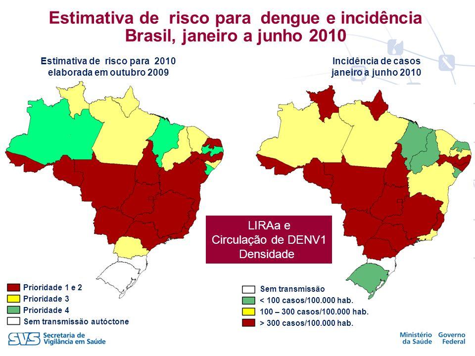Estimativa de risco para dengue e incidência Brasil, janeiro a junho 2010
