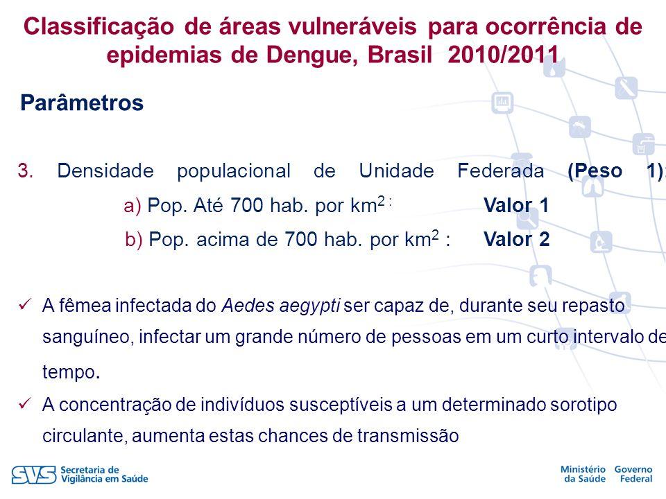 Classificação de áreas vulneráveis para ocorrência de epidemias de Dengue, Brasil 2010/2011