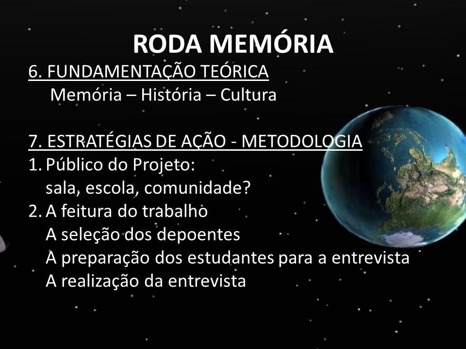 RODA MEMÓRIA 6. FUNDAMENTAÇÃO TEÓRICA Memória – História – Cultura