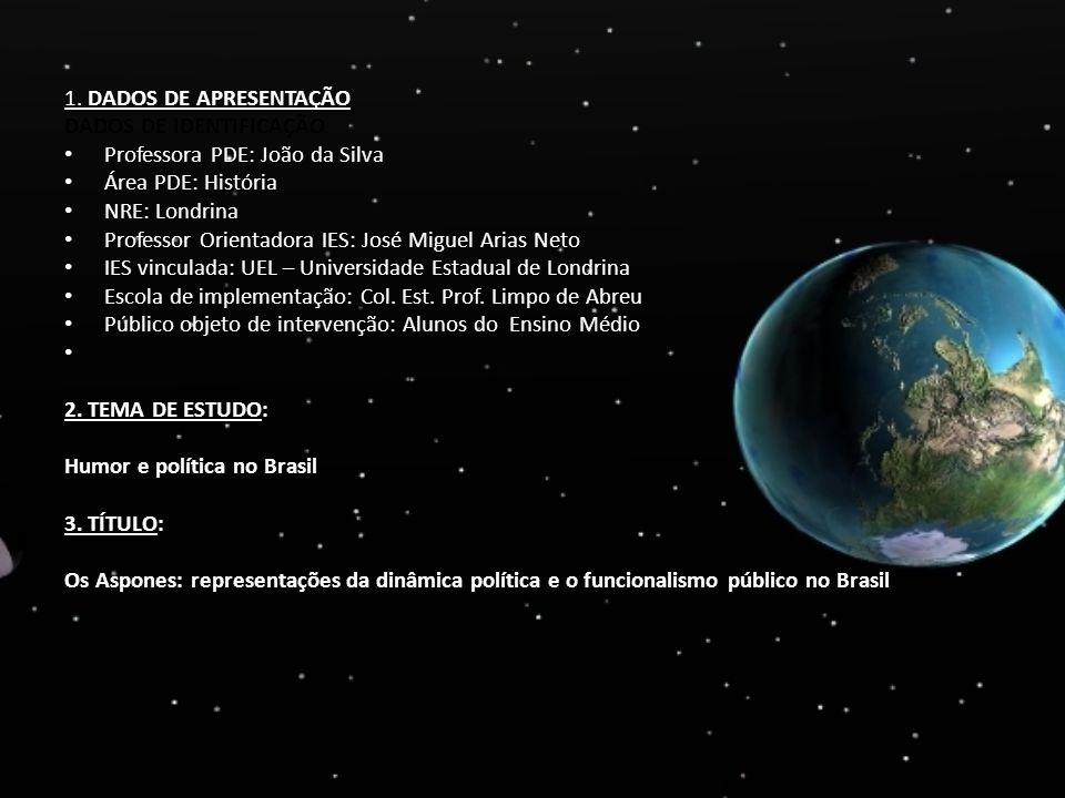 1. DADOS DE APRESENTAÇÃO DADOS DE IDENTIFICAÇÃO. Professora PDE: João da Silva. Área PDE: História.