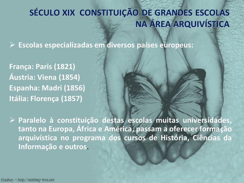 SÉCULO XIX CONSTITUIÇÃO DE GRANDES ESCOLAS NA ÁREA ARQUIVÍSTICA