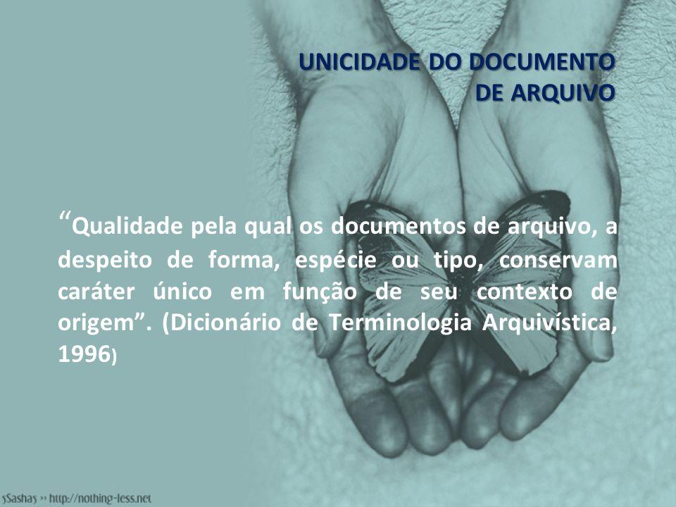 UNICIDADE DO DOCUMENTO DE ARQUIVO