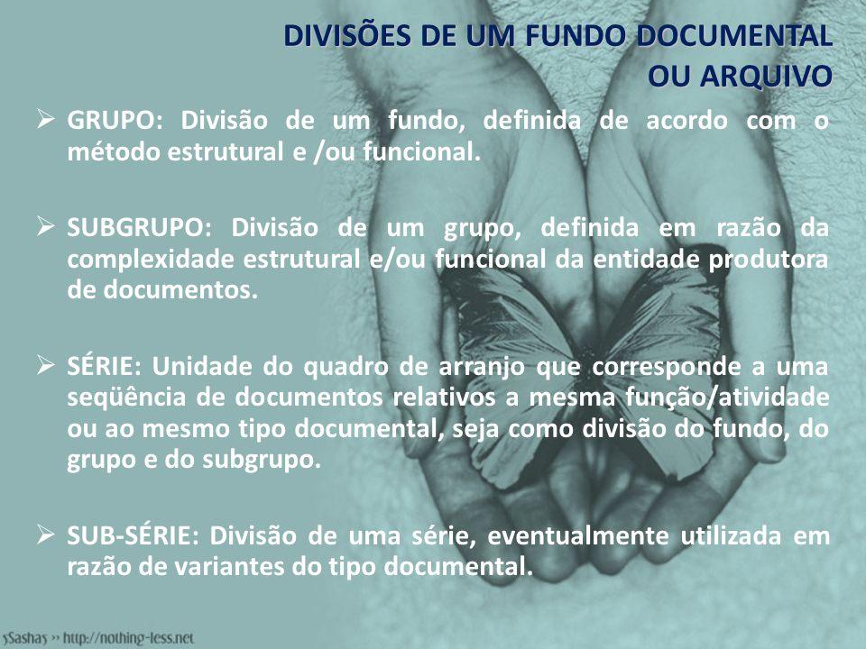 DIVISÕES DE UM FUNDO DOCUMENTAL OU ARQUIVO