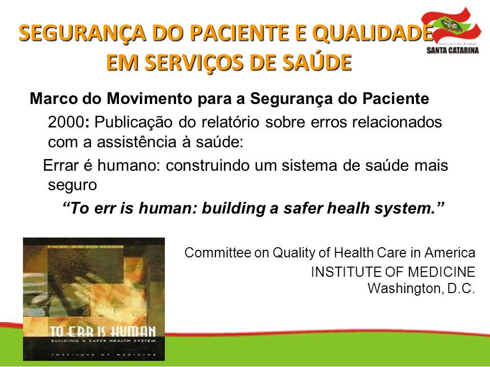 SEGURANÇA DO PACIENTE E QUALIDADE EM SERVIÇOS DE SAÚDE
