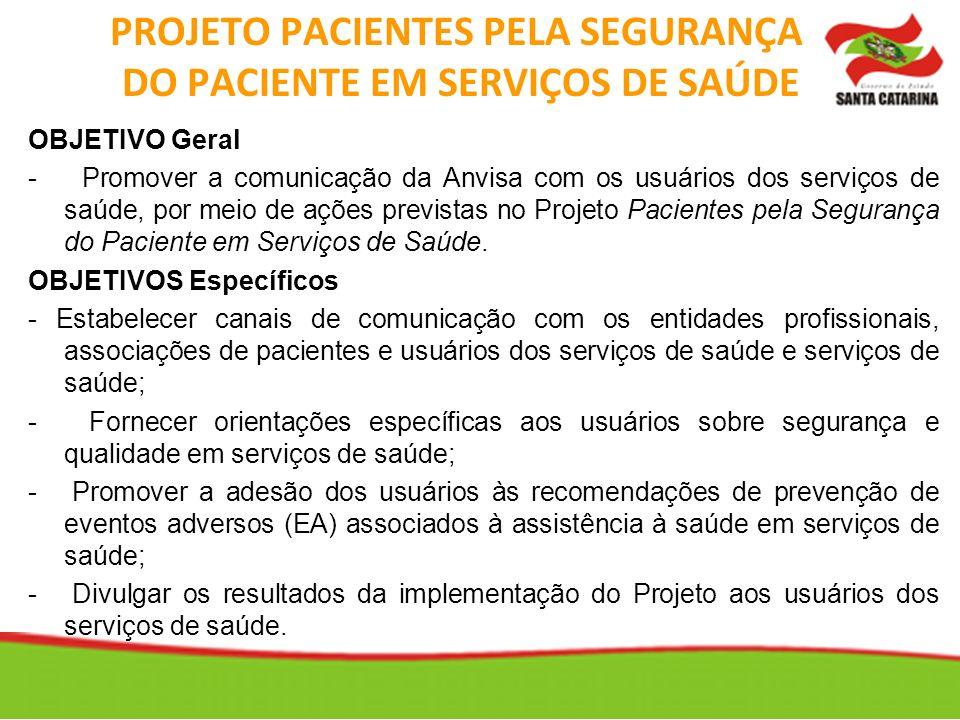PROJETO PACIENTES PELA SEGURANÇA DO PACIENTE EM SERVIÇOS DE SAÚDE