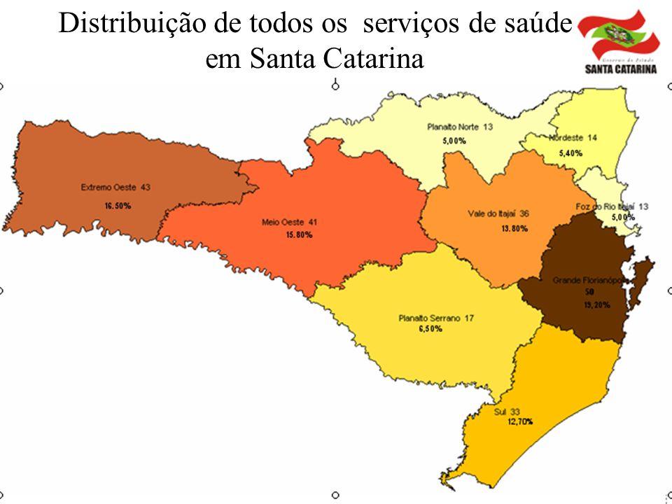 Distribuição de todos os serviços de saúde em Santa Catarina