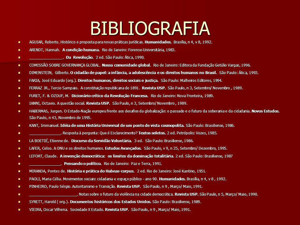 BIBLIOGRAFIA AGUIAR, Roberto. Histórico e proposta para novas práticas jurídicas. Humanidades. Brasília, n 4, v 8, 1992.