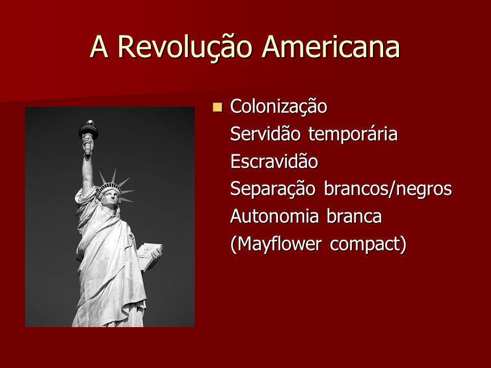 A Revolução Americana Colonização Servidão temporária Escravidão