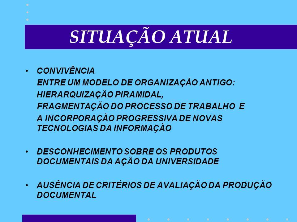 SITUAÇÃO ATUAL CONVIVÊNCIA ENTRE UM MODELO DE ORGANIZAÇÃO ANTIGO: