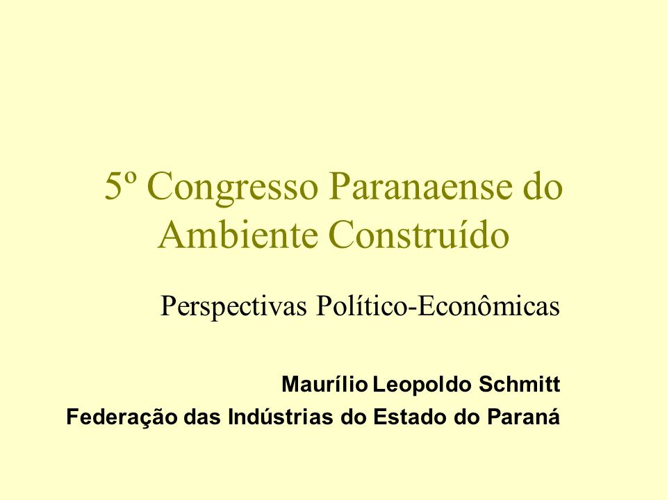 5º Congresso Paranaense do Ambiente Construído