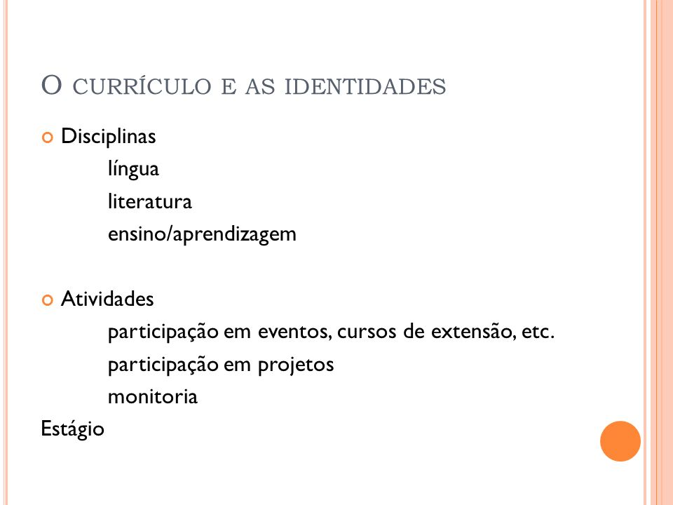 O currículo e as identidades