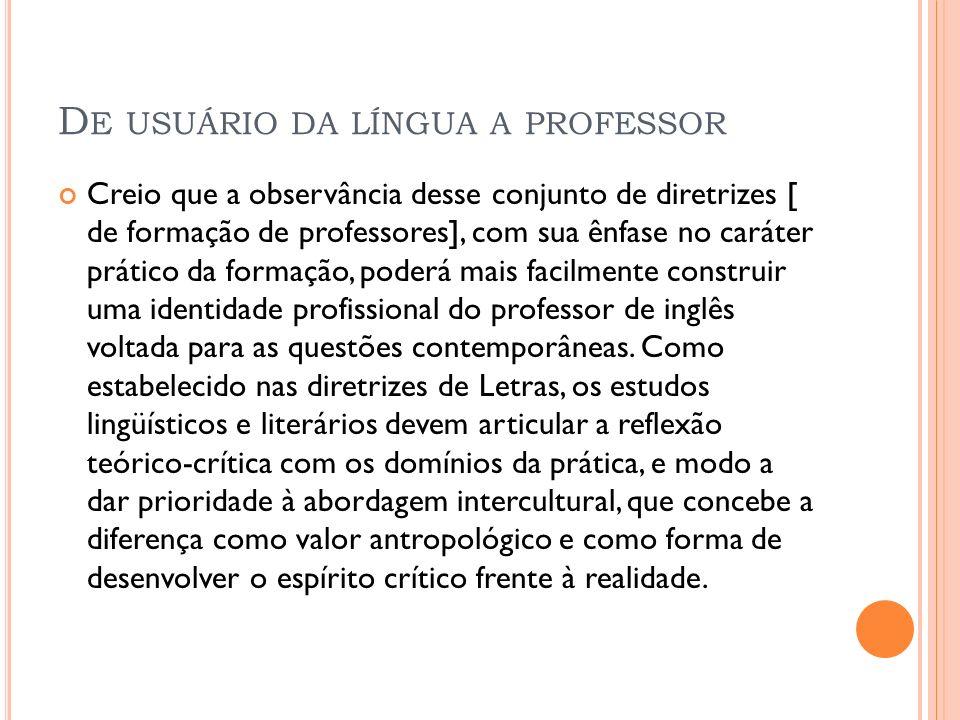 De usuário da língua a professor