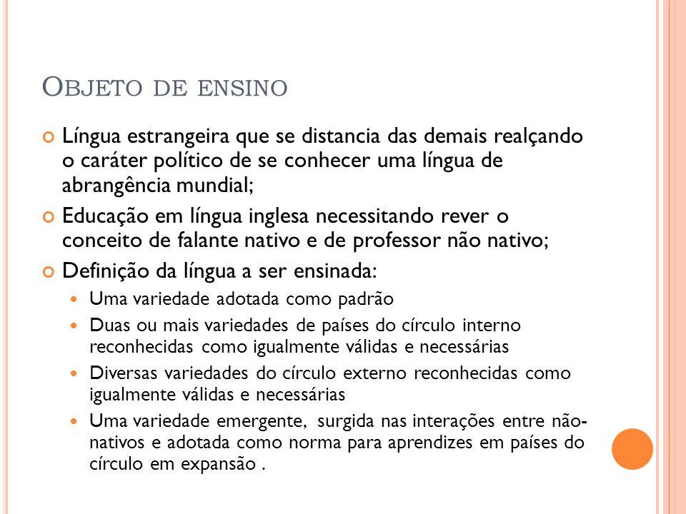 Objeto de ensino Língua estrangeira que se distancia das demais realçando o caráter político de se conhecer uma língua de abrangência mundial;
