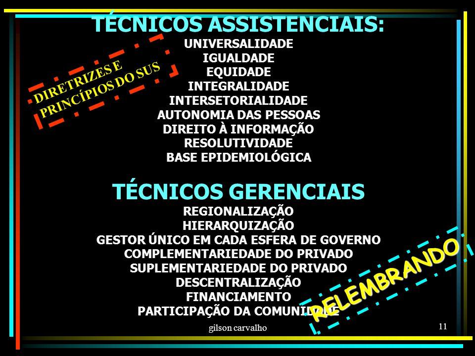 TÉCNICOS ASSISTENCIAIS: TÉCNICOS GERENCIAIS