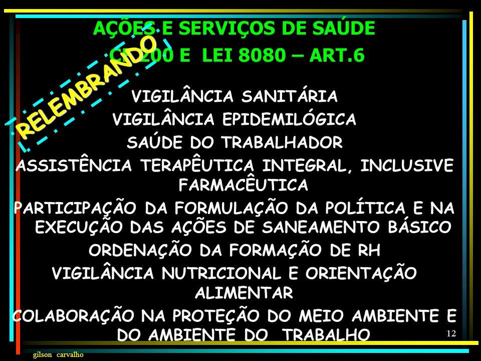 RELEMBRANDO AÇÕES E SERVIÇOS DE SAÚDE CF 200 E LEI 8080 – ART.6