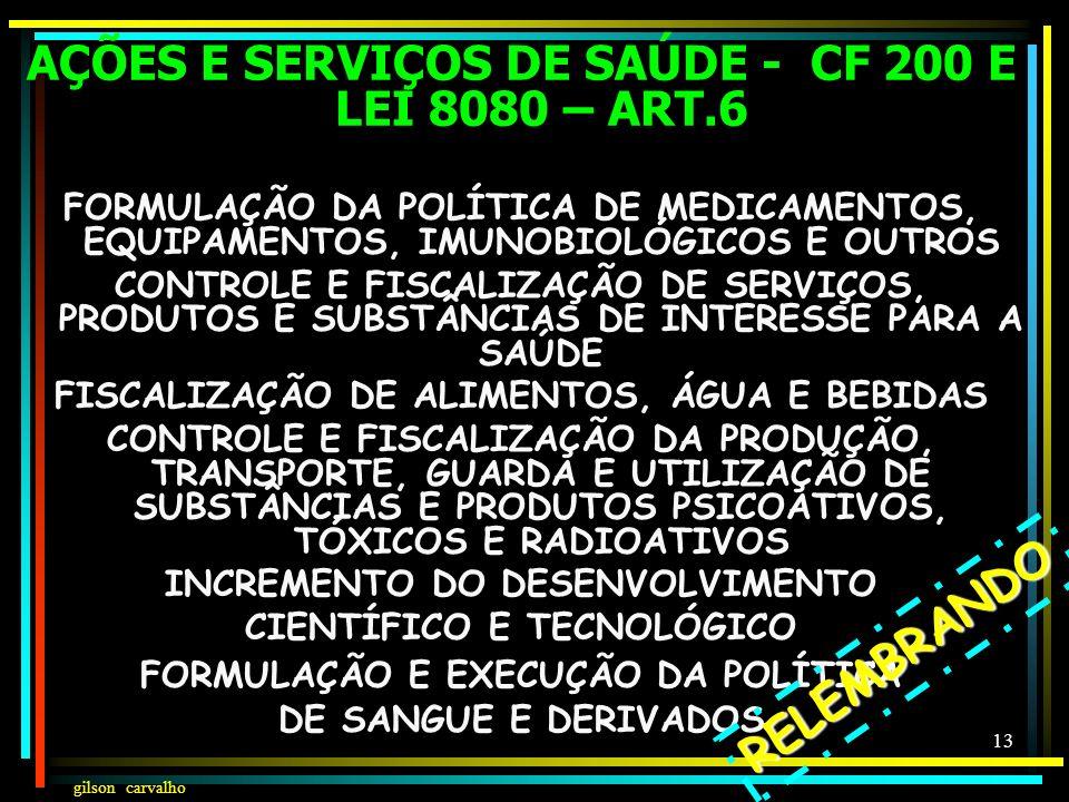 AÇÕES E SERVIÇOS DE SAÚDE - CF 200 E LEI 8080 – ART.6