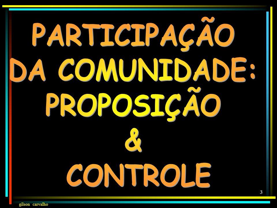 PARTICIPAÇÃO DA COMUNIDADE: PROPOSIÇÃO & CONTROLE