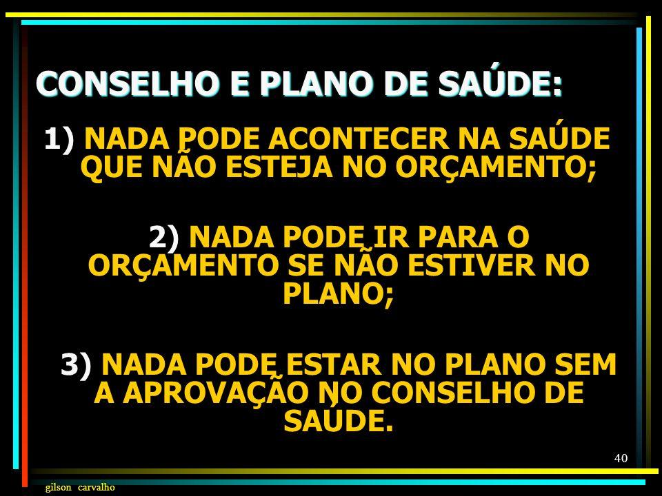 CONSELHO E PLANO DE SAÚDE: