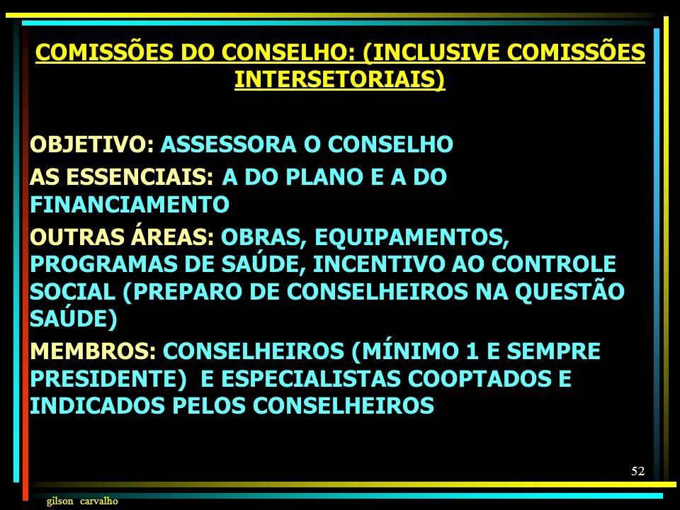 COMISSÕES DO CONSELHO: (INCLUSIVE COMISSÕES INTERSETORIAIS)