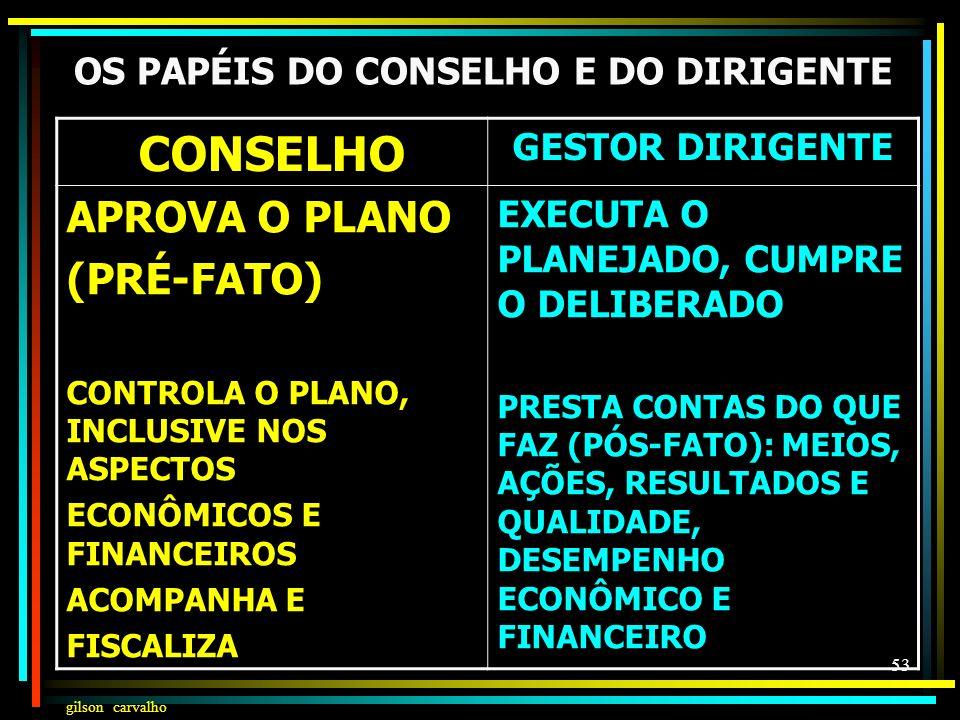 OS PAPÉIS DO CONSELHO E DO DIRIGENTE
