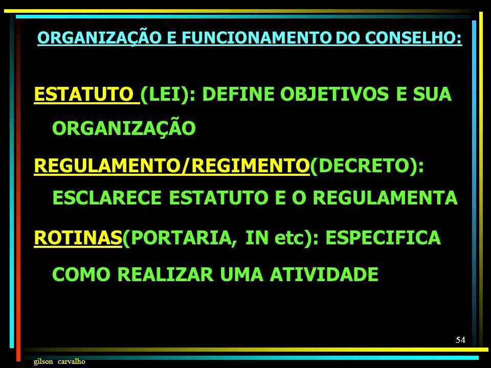 ORGANIZAÇÃO E FUNCIONAMENTO DO CONSELHO:
