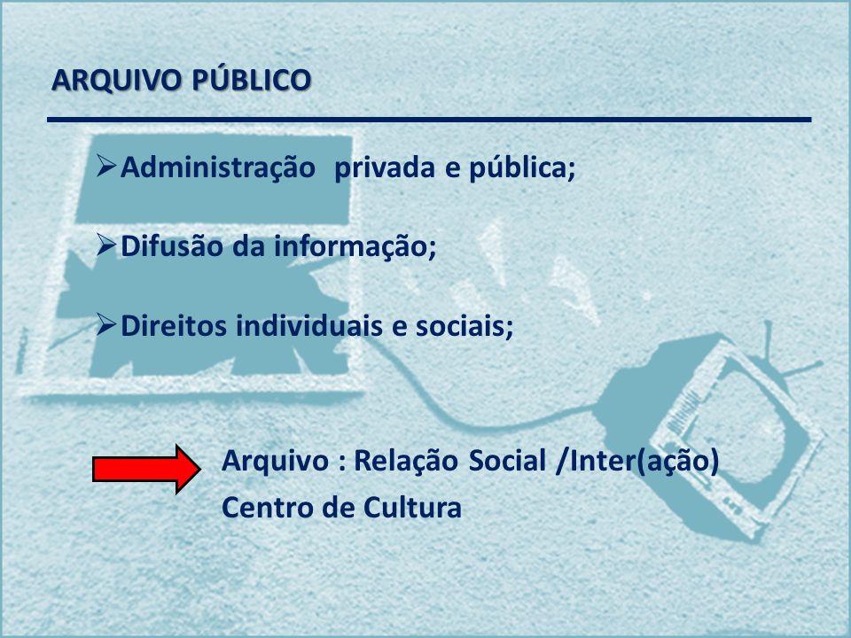 ARQUIVO PÚBLICO Administração privada e pública; Difusão da informação; Direitos individuais e sociais;