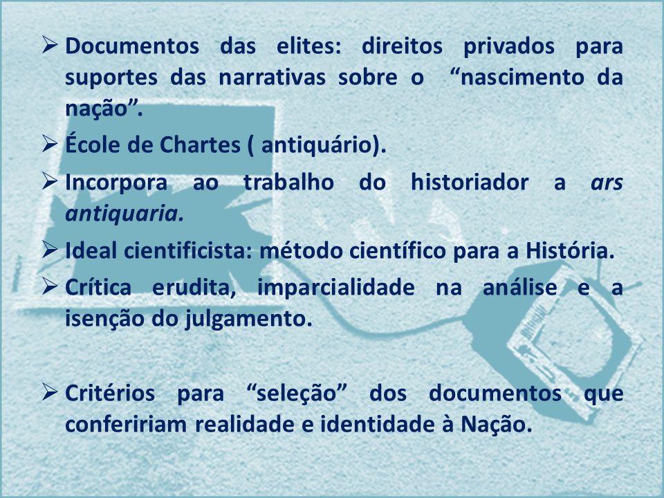 Documentos das elites: direitos privados para suportes das narrativas sobre o nascimento da nação .