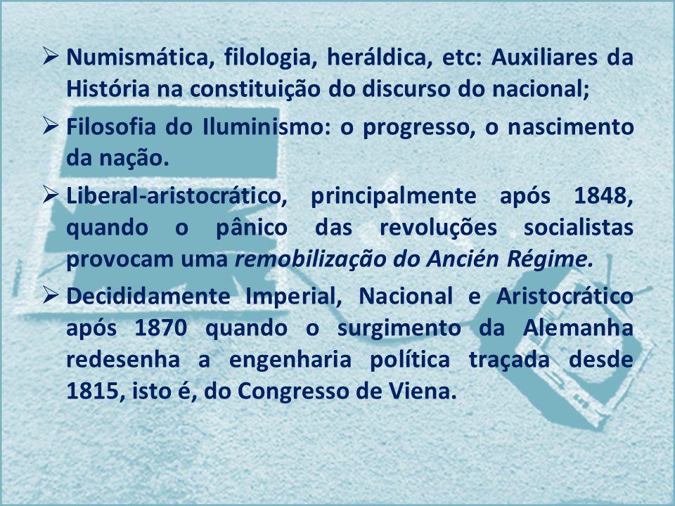 Numismática, filologia, heráldica, etc: Auxiliares da História na constituição do discurso do nacional;