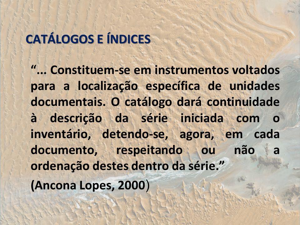 CATÁLOGOS E ÍNDICES
