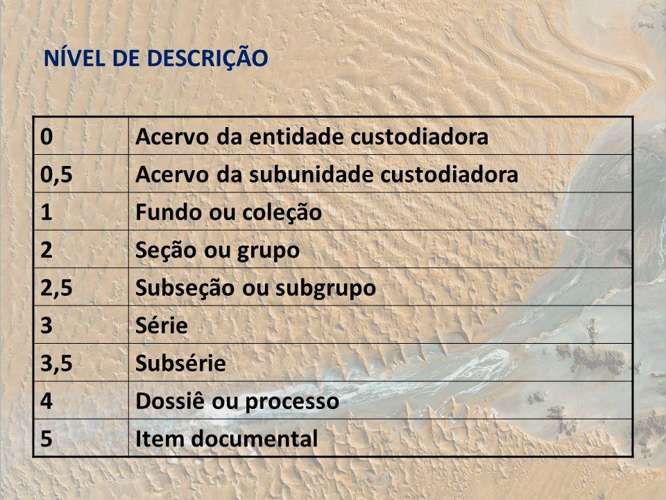 NÍVEL DE DESCRIÇÃO Acervo da entidade custodiadora. 0,5. Acervo da subunidade custodiadora. 1. Fundo ou coleção.
