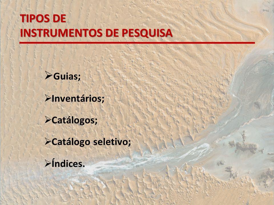 TIPOS DE INSTRUMENTOS DE PESQUISA