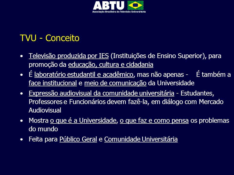 TVU - Conceito Televisão produzida por IES (Instituições de Ensino Superior), para promoção da educação, cultura e cidadania.