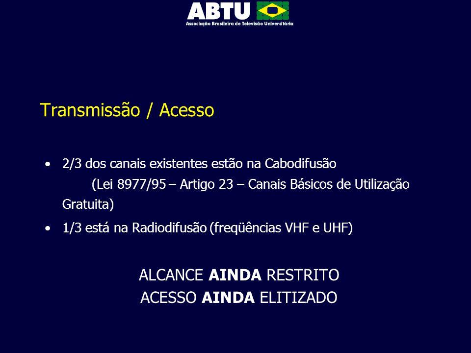 Transmissão / Acesso ALCANCE AINDA RESTRITO ACESSO AINDA ELITIZADO