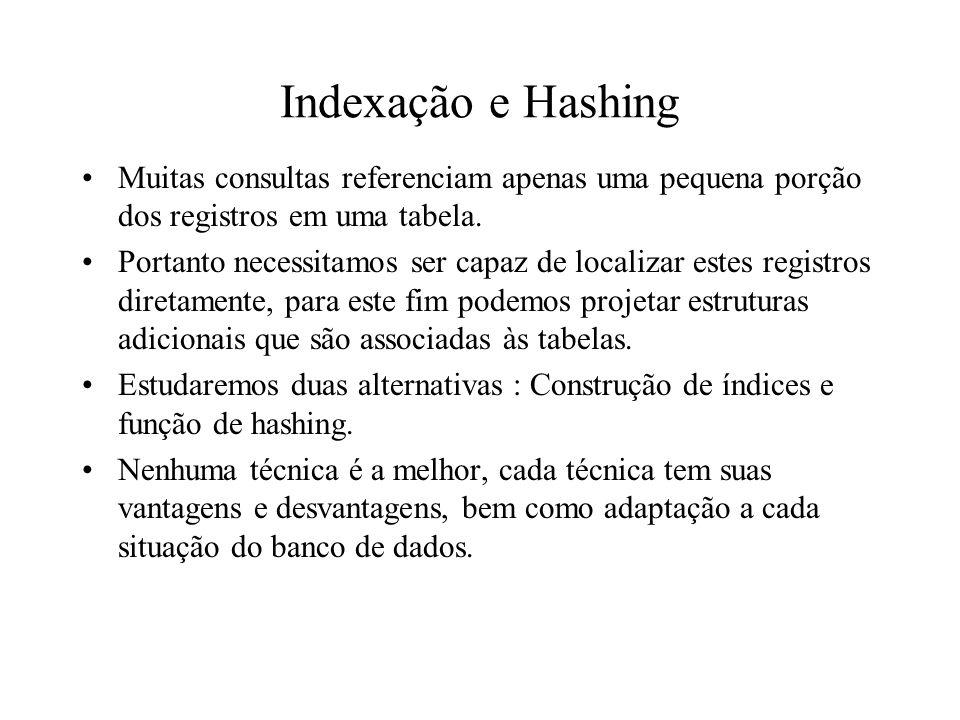 Indexação e Hashing Muitas consultas referenciam apenas uma pequena porção dos registros em uma tabela.