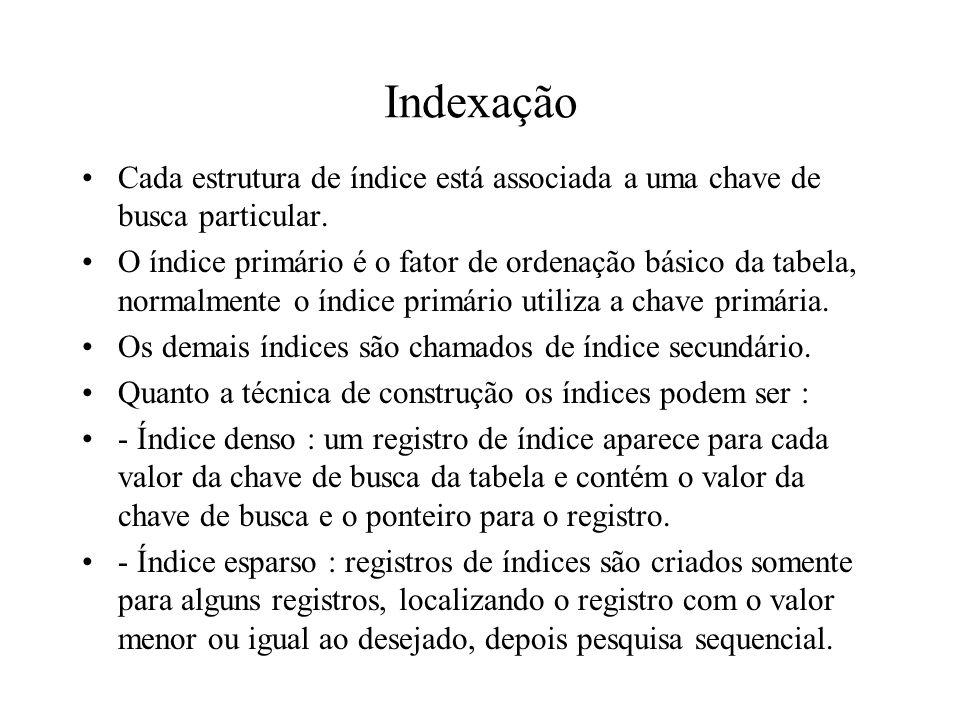 Indexação Cada estrutura de índice está associada a uma chave de busca particular.