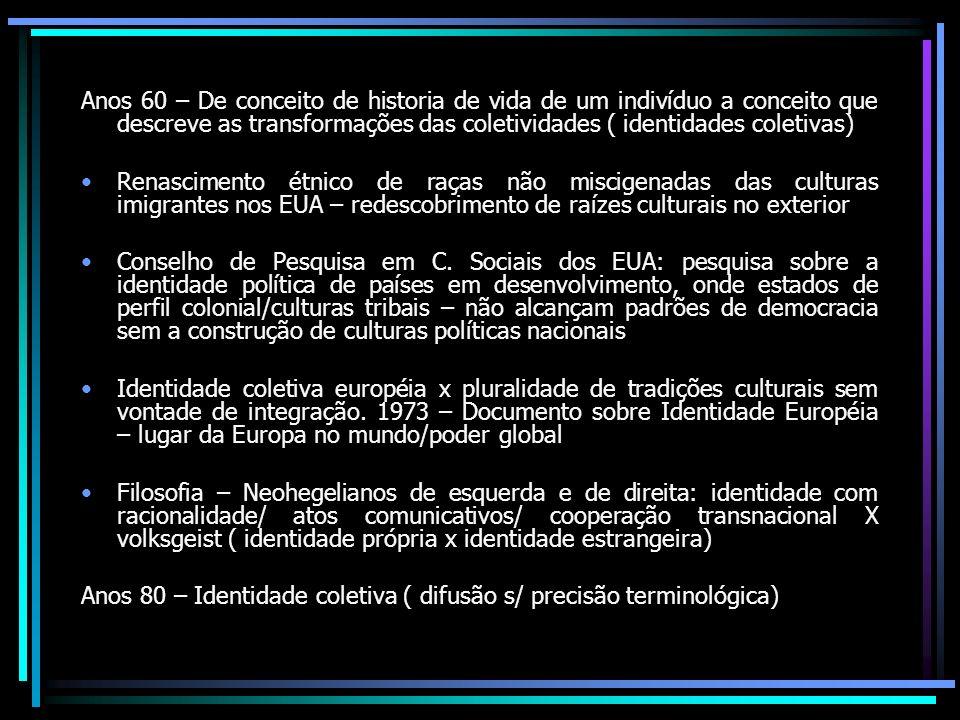 Anos 60 – De conceito de historia de vida de um indivíduo a conceito que descreve as transformações das coletividades ( identidades coletivas)