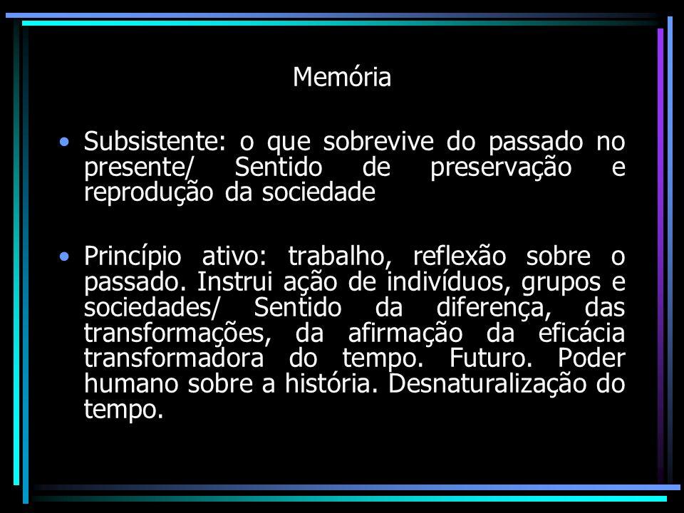 Memória Subsistente: o que sobrevive do passado no presente/ Sentido de preservação e reprodução da sociedade.