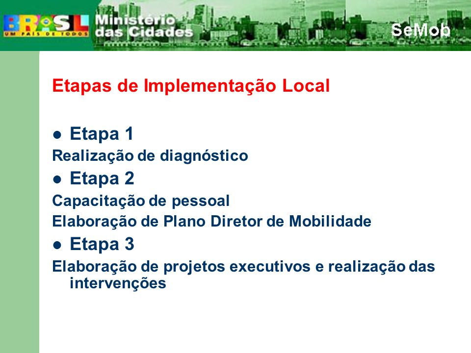 Etapas de Implementação Local