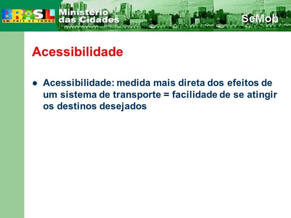 Acessibilidade Acessibilidade: medida mais direta dos efeitos de um sistema de transporte = facilidade de se atingir os destinos desejados.