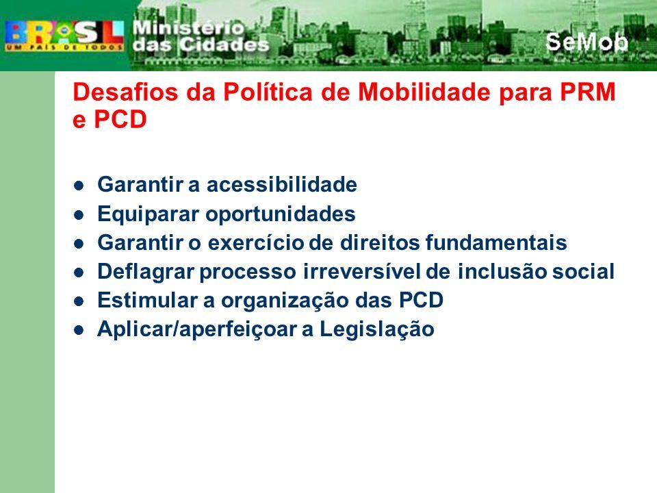 Desafios da Política de Mobilidade para PRM e PCD