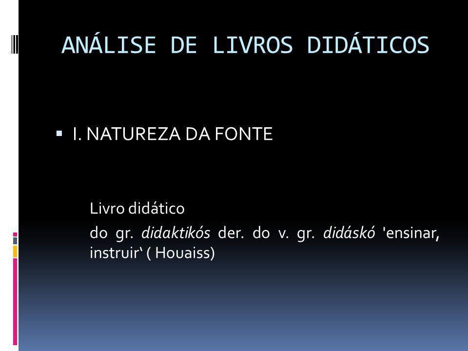 ANÁLISE DE LIVROS DIDÁTICOS