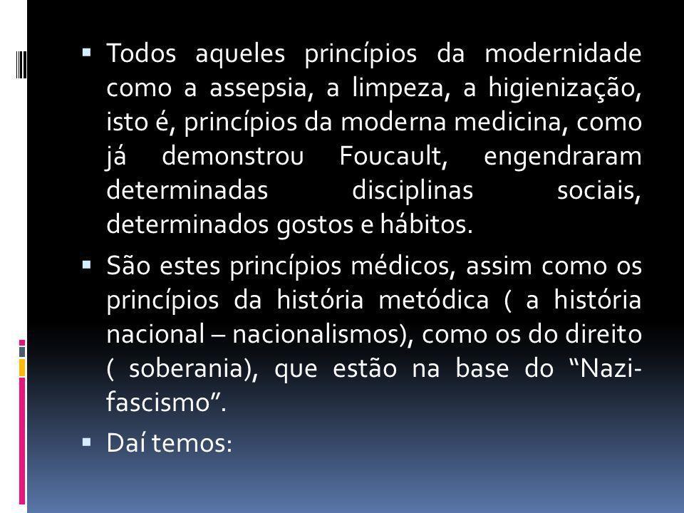 Todos aqueles princípios da modernidade como a assepsia, a limpeza, a higienização, isto é, princípios da moderna medicina, como já demonstrou Foucault, engendraram determinadas disciplinas sociais, determinados gostos e hábitos.