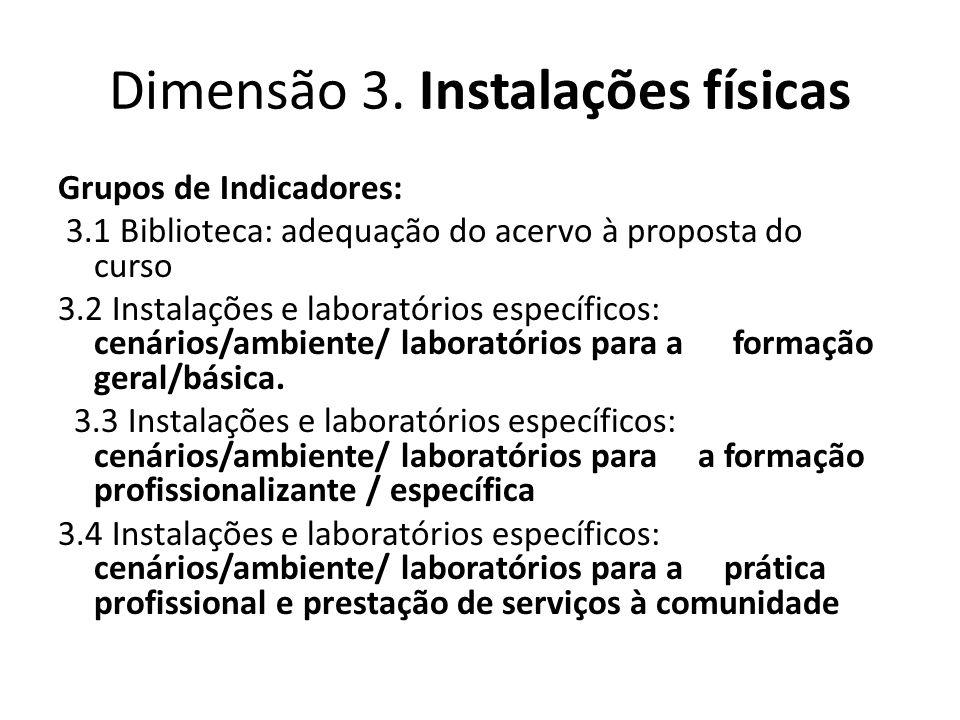 Dimensão 3. Instalações físicas