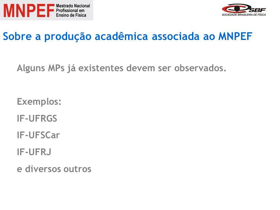 Sobre a produção acadêmica associada ao MNPEF
